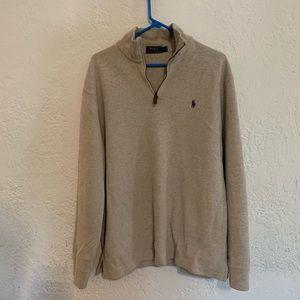Polo Ralph Lauren Half Zip Tan Sweater Large